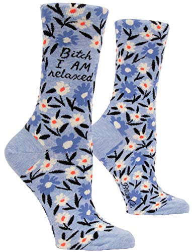 Blue Q Women's Crew Socks, Bitch I AM Relaxed. (fit shoe size 5-10)