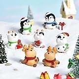 jiabushu shop Juego de 7 piezas de decoración para tartas navideñas, figuras de Navidad en miniatura, figuras de pingüino de alce de vaca y pingüino, decoración del hogar, regalo de 7 piezas