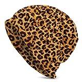 Viplili Gorro de Abrigo, Animal Leopard Print Slouchy Gorro de Lana for Men Women - Stretchy Hip-Hop Skull Cap Baggy Gorro de Punto Hip-Hop Winter Hat