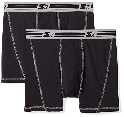 Starter Men's 2-Pack Stretch Boxer Brief, Amazon Exclusive, Black/Black, XX-Large