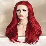 DKEE Pelucas Moda Dama Rojo Largo Cabello Lacio Frente Peluca De Encaje Set De Cabello Oblicuo Flequillo 26 Pulgadas