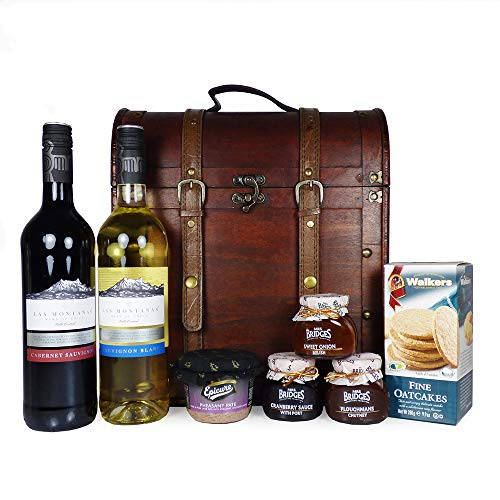 2 x 75cl Bottles of Wine, Biscuits and Chutney Delights Gift Hamper Presented in a Deluxe Squires Chest - Gift Ideas for Christmas, Valentines, Mother's Day, Birthday, Anniversary, Business and Corporate, Mum, Dad, Fathers Day