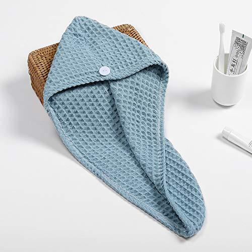 Gorro de pelo seco blanco de gofres después de la ducha, toalla de secado rápido, sombrero turbante cabeza envoltura herramienta de baño con capucha (color: Hulanse, tamaño: 65 x 25 cm)