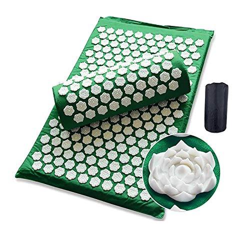 GSYNXYYA Akupunktur Massagekissen, Akupressur-Matte und Kissenset, tragbarer Yoga-Akupoint-Massage-Abdeckung, für Fuß- / Rücken- / Nackenschmerzlinderung (grün)