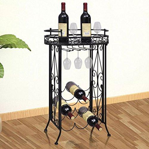 Festnight Portabottiglie in Ferro Battuto Armadietto di Metallo Tavolo da Vino con Supporto per 9 Bottiglie