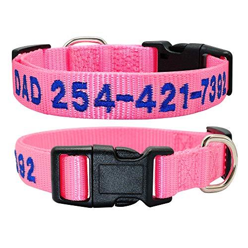 TTCI-RR Collar Perro Personalizado 1 unids Personalizado Personal de identificación de Dog Colllar Nylon Franela Perros Bordados Collars Nombre de Mascotas Personalizado Número de teléfono No. Collar