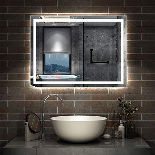 AicaSanitär LED Badspiegel 100×80cm Badspiegel mit Beleuchtung Lichtspiegel Badezimmerspiegel Wandspiegel Touch-Schalter Antibeschlag IP44 Kaltweiß energiesparend