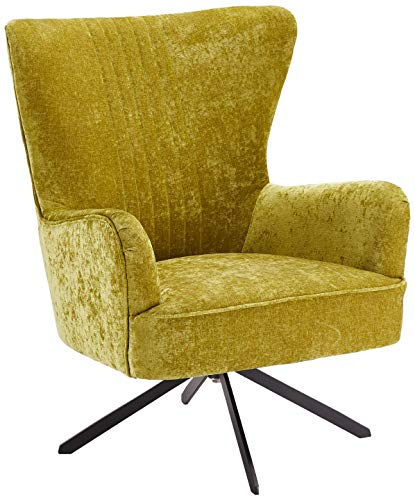 Furnhouse Yellow Velvet Fabric Swivel Armchair Upholstered Wing Lounge Chair for Bedroom Living Room Bob, Black Metal Base, SH: 43 cm, Polyester, Green, 75x81x93