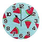 Reloj de Pared Sandía Verano Fruta Azul Rayas Blancas Reloj de acrílico Redondo Negro Números Grandes Reloj silencioso sin tictac Pintura Decorativa Reloj con Pilas para la Biblioteca del Hotel de la