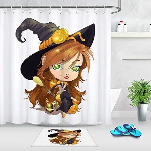 xuelizhou Halloween Leuke Kleine Heks Badkamerset douchegordijn grootte: 180X180cm badkamermat grootte: 60X40cm