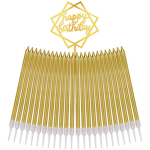Gesentur Birthday Candles 24 Count Long Thin Cake Candles in Holders with Happy Birthday Cake Topper for Birthday Wedding Christmas Cupcake Decoration, Gold