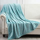 NordECO HOME Flannel Throw Blanket - Soft Cozy Warm Blanket with Pompom Fringe for Couch Bed Sofa Chair, 50' x 60', Teal Blue