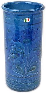 イタリア製 陶器 傘立て ブルー 花柄 グラフィート 筒形アンブレラスタンド おしゃれ 傘たて フラ