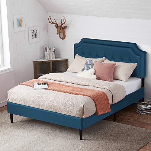VECELO Premium Upholstered Platform Bed Diamond Stitched Panel Headboard, Metal Frame & 12 Strong Wood Slat Support, Mattress Foundation/Easy Assembly,Full,Blue