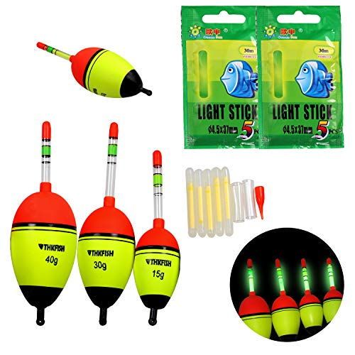 thkfish Fishing Floats, 5Pcs 30g Foam Freshwater Saltwater Luminious Lighting EVA Foam Fishing Floats Crappie Fishing Floats Bobber Slip Tube Kit with 10pcs Glow Sticks