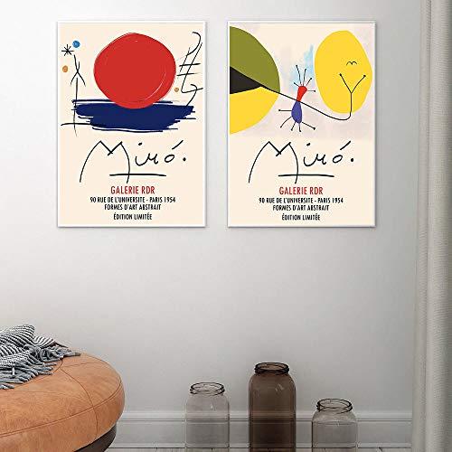 LTXMZ Joan Miro Decoracion Marco De La ExposicióN Vintage Abstracto Famosos Pintura Abstracto Pared Arte Cuadro Siglo Moderno Impresiones Inicio 40x50cmx2 No