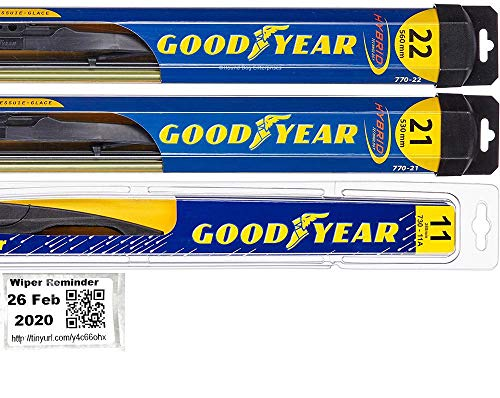 Windshield Wiper Blade Set/Kit/Bundle for 2014-2019 Jeep Grand Cherokee - Driver, Passenger Blade & Rear Blade & Reminder Sticker (Hybrid with Goodyear Rear)