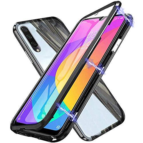 Custodia per Xiaomi Mi A3 / CC9E Flip Cover Magnetica Adsorbimento Tecnologia Bumper in Metal 360 Gradi Full Body Protezione Cover Trasparente Vetro Temperato Frontale e Posteriore Custodia