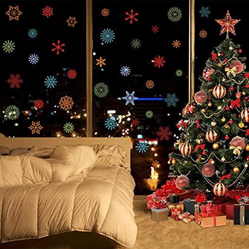 KAIRNE Pegatinas de Navidad para ventana de Navidad, diseño de copos de nieve, copos de nieve extraíbles, pegatinas de...