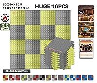 エースパンチ 新しい 16ピースセットグレーと黄 500 x 500 x 50 mm ピラミッド 東京防音 ポリウレタン 吸音材 アコースティックフォーム AP1034