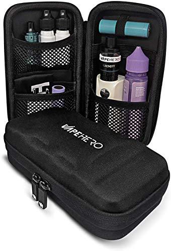 VapeHero® L E-Zigarette Tasche | Dampfer Etui für max. 80ml Liquid und Zubehör | Passend für große Mods | Stoßfest (Large, Schwarz)