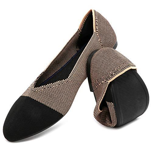 HEAWISH Women's Ballet Flats for Women Pointed Toe Slip On Black Brown Comfortable Mesh Dress Shoes(Black Brown/Original, US8)