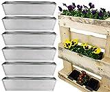 My-goodbuy24 Fioriera per pallet, assortimento di 6 pezzi zincati, vasi da fiori per pallet europei, decorazione da giardino