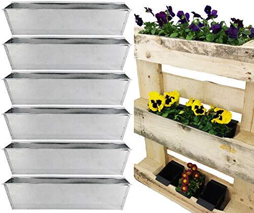 My-goodbuy24 Jardinera para palés – Juego de 6 insertos galvanizados – Macetas de flores insertadas para placas Euro Decoración Jardín Maceta