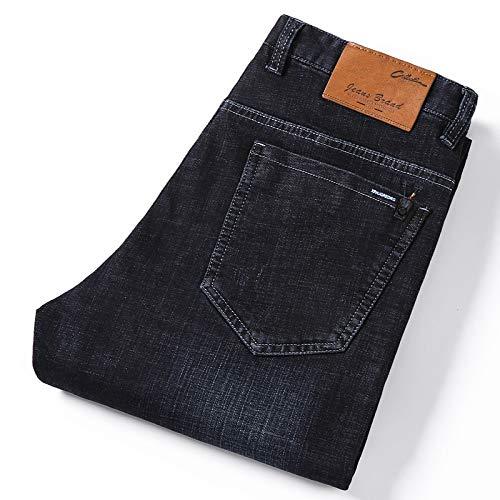 YANGPP Winterjeans Herren Schwarze Jeans Business Casual Direct Straight Lange Hosen Businessman Gentlemen Denim Jeans Herren, Schwarz, 32