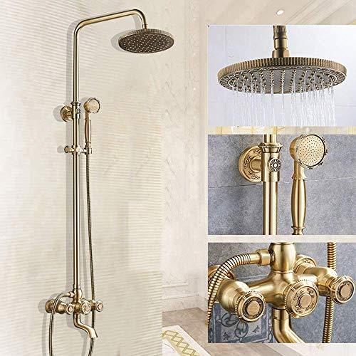 KANJJ-YU Arte de bronce de cobre europeo y americano de la antigüedad del estilo de la ducha del cuarto de baño tallado hermoso determinado práctica Cromo