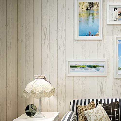 Papel Pintado Beige Estilo mediterráneo Rayas Verticales Papel Pintado Vintage Azul Madera Grano Tela no Tejida Papel Pintado Rollo Papel De Parede Listrado 5.3m²