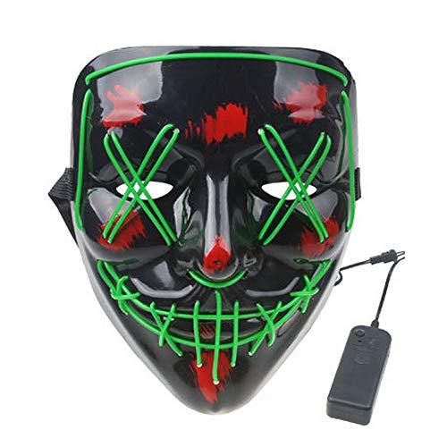 LED Maske Purge DJ Mask mit 3 Blitzmodi für Party Halloween Fasching Karneval Kostüm Cosplay Dekoration