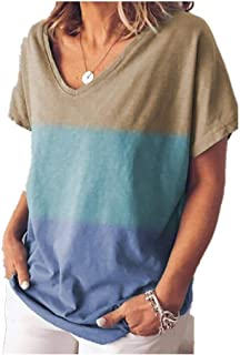 neveraway Womens Baggy Style V-Neck Oversized Stitching Color Pocket Top