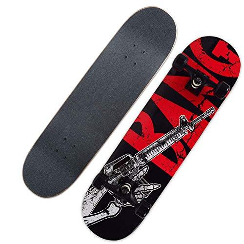 Zjcpow Complete Skateboard 31-Zoll-Skateboard Ahornholz Doppel Kick-Tricks for Teens Erwachsene Anfänger Skateboard, Gun xuwuhz
