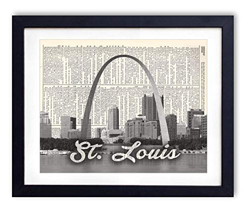 St. Louis Skyline With Script Name Dictionary Art Print 8x10