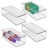 mDesign Juego de 4 cajas organizadoras con asa y tapa abatible – Pequeño organizador de escritorio de plástico para material de oficina – Caja apilable rectangular para despacho – transparente
