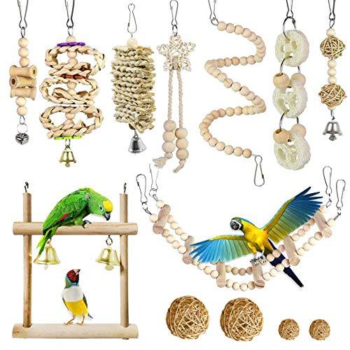 Allazone Vogelpapegaaienspeelgoed, 13 STKS Opknoping Bell Pet Bird Cage Hangmat Swing Toy Houten Kauwspeelgoed voor…