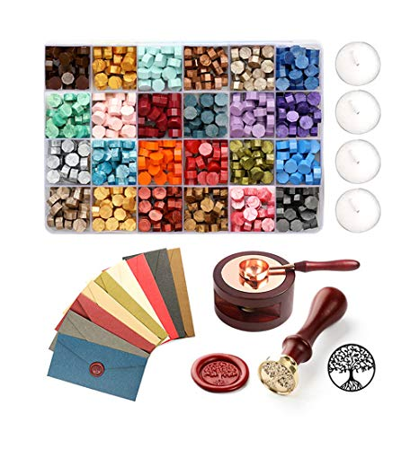 600 Stück achteckige Siegel wachs perlen Wachs Siegel Stempel Kit mit 1 Siegelstempel 24 Farbe-Siegelwachs 4 Teelichter 1 Wachs-Löffel für Umschlägen Briefe Hochzeitseinladungen Karten Geschenkbox
