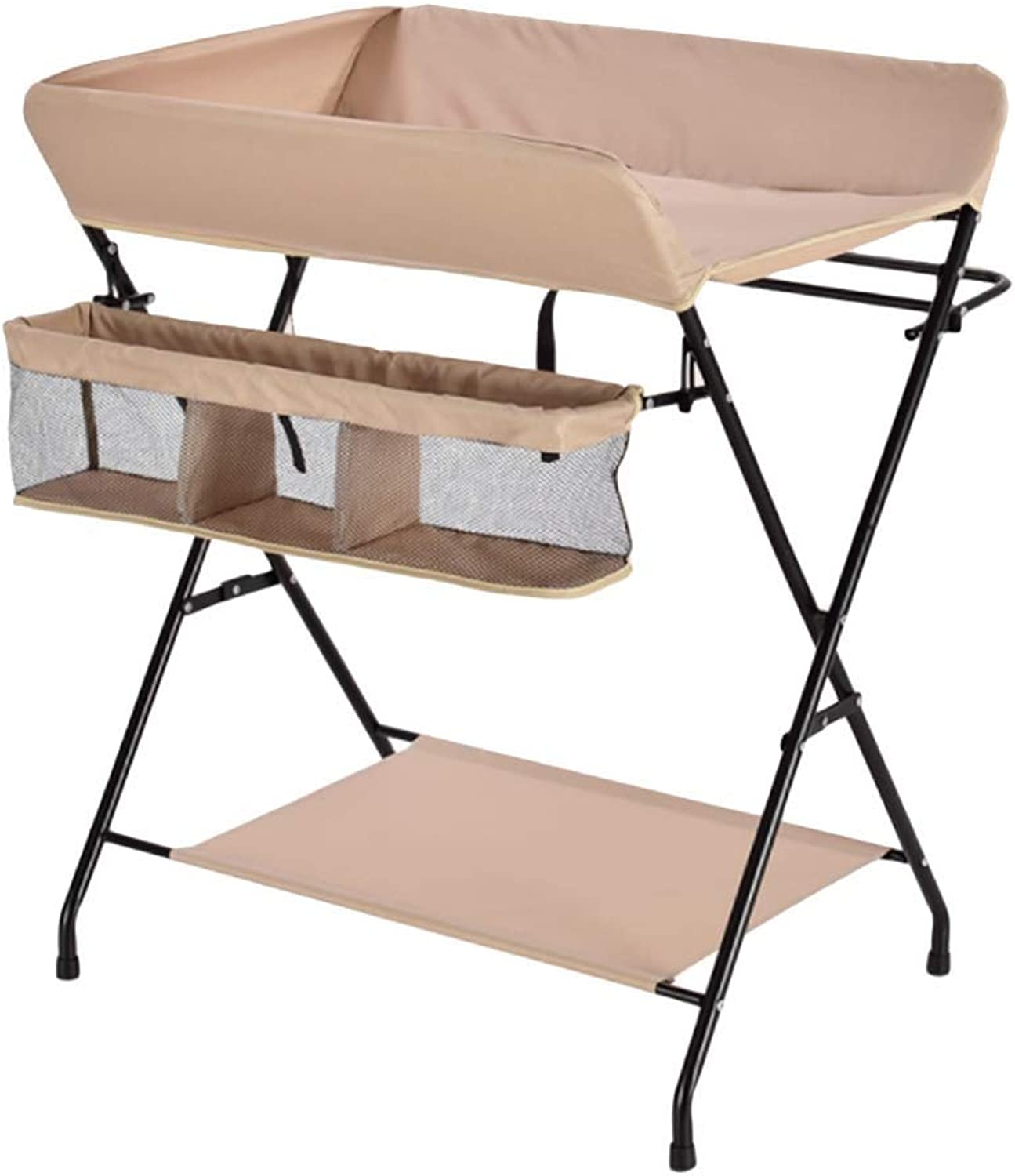 Folding Baby Changing Table Change Table Storage Space Baby Portable Diaper Station Kindergarten Dressing Table Cross Leg (color   orange)