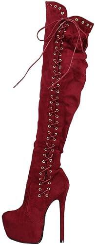 NVXIE Femmes Plus de Le Genou Cuisse Haute Talon Bottes Chevalier Hiver Imperméable Les Bretelles Lacer du vin Rouge Grand Taille
