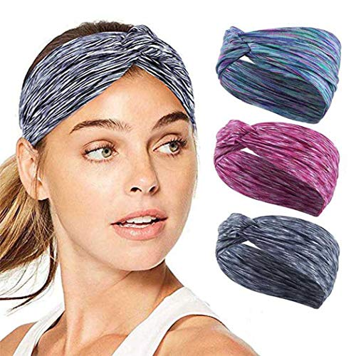 Unicra Elastic Cross Sports Headbands No Slip Workout Sweatbands Lightweight Sweat Wicking Head Band for Women and Men (Pack of 3) (type 1)
