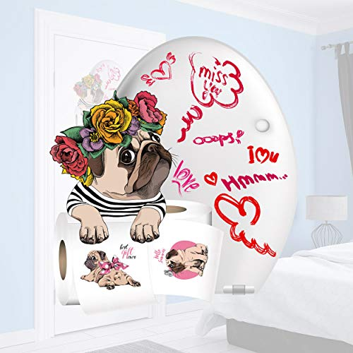 Sunnywall Wandtattoo Aufkleber Mops Lounge mit Blumenkranz WC Aufkleber Türaufkleber Toilettenpapier Größe Größe 1