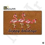 MsMr Fußmatte Entrance Mat Funny Fußmatte Home Office Deko Gummi-Fußmatte Matte, Weihnachten Flamingo Happy Holidays 76,2x 45,7cm