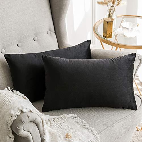 MIULEE Terciopelo Funda de Cojine Funda de Almohada del Sofá Throw Cojín Decoración Almohada Caso de la Cubierta Decorativo Almohadas para Sala de Estar 30x 50cm 12 x 20 Pulgadas 2 Pieza Negro