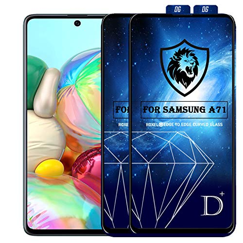 Roxel D-Plus Tempered Glass/Screen Protector Compatible for Samsung Galaxy A71 (Black) Dplus Edge to Edge Full Screen Coverage with Installation Kit (Pack of 2)