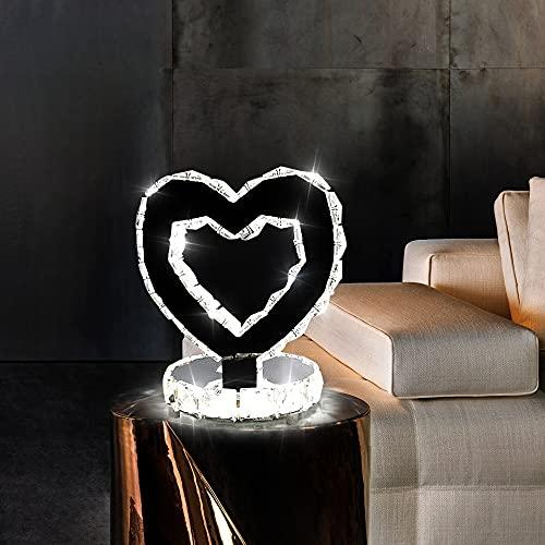 Lampade da tavolo in cristallo, moderne lampade a LED in acciaio inossidabile, Potenza 18w, 6000K, Molto Adatta Per La Camera Da Letto, Bianco Freddo [Classe Di Efficienza Energetica A]