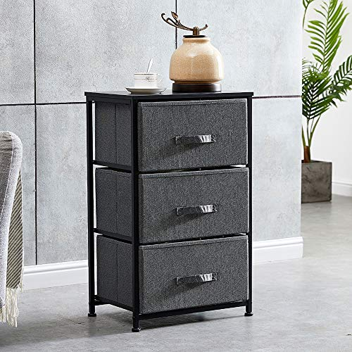 BOJU Bedroom Night Stand with 3 Drawers Bathroom Unit Storage Cabinet Slimline Living Room Chest of Drawers Sideboard Cupboard for Corner Small Space (Drak Grey 3 Drawers:45×32×74)