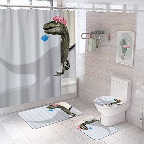 Bomehsoi Duschvorhang-Set mit Dinosaurier-Motiv, T-Rex, rutschfest, 4 Stück mit 12 Haken