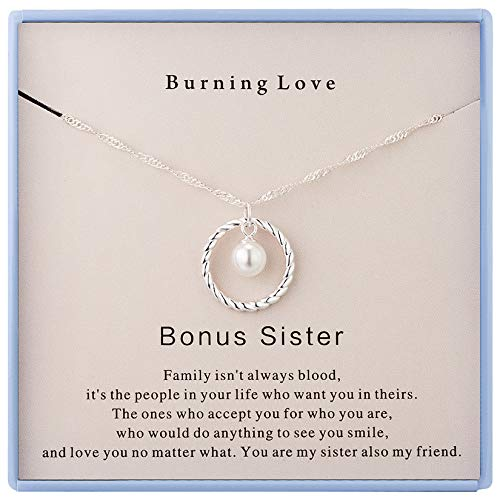 Burning Love Bonus Sister Gifts from Sister,Sterling Silver Round Circle Necklace for Unbiological Sister Necklace Birthday Gifts for Women Girls Sister-in-Law Gifts Christmas Holiday Jewelry