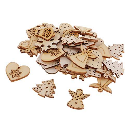 Baoblaze 100 Pezzi Assortiti Forme Ritaglio in Legno Artigianali Decorazioni Natalizie Abbellimento